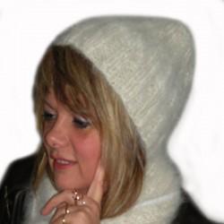 Bonnet blanc en laine - Laine canine