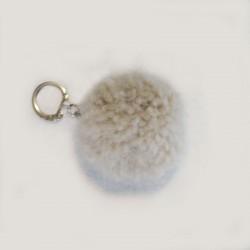 Pompon blanc en laine - Laine canine